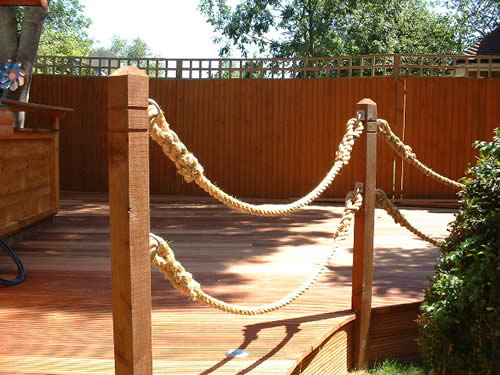 Decking features for a special finish for Garden decking with rope