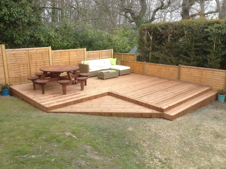 Another deck covering sloping ground