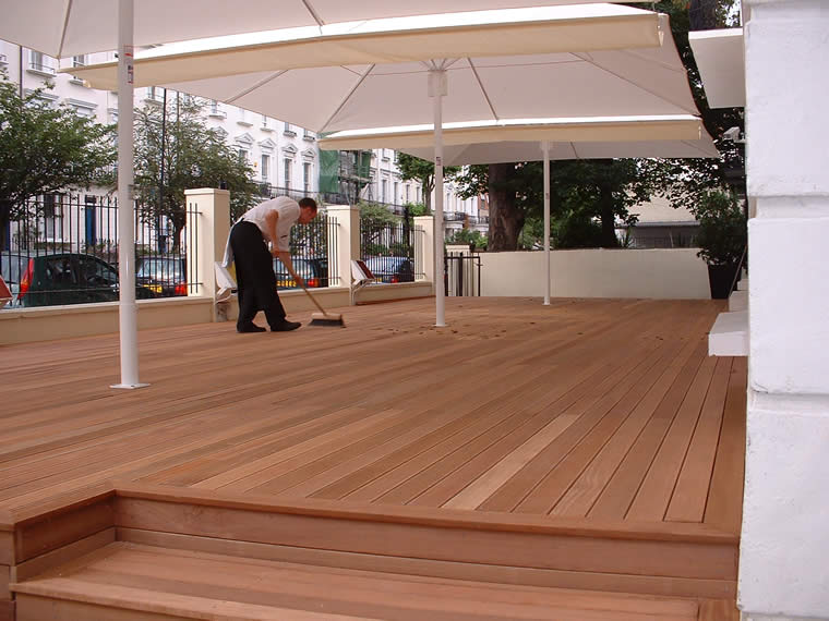 Hardwood decking used for a restaurant veranda