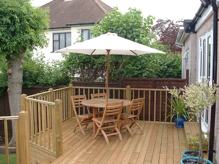 Raised softwood deck