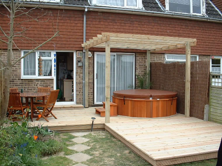 Softwood decking and pergola